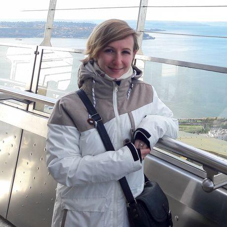 Cindy auf dem Space Needle Aussichtsturm in Seattle