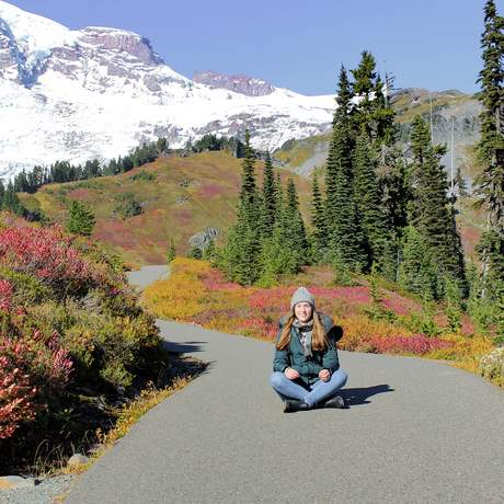 Azubi Jessica im Mount Rainier Nationalpark