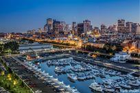 Die Skyline und Hafen von Montréal