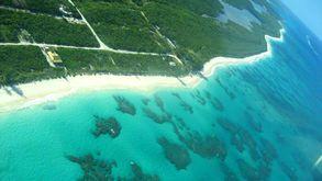 Cat Island mit Greenwood Beach aus der Luft
