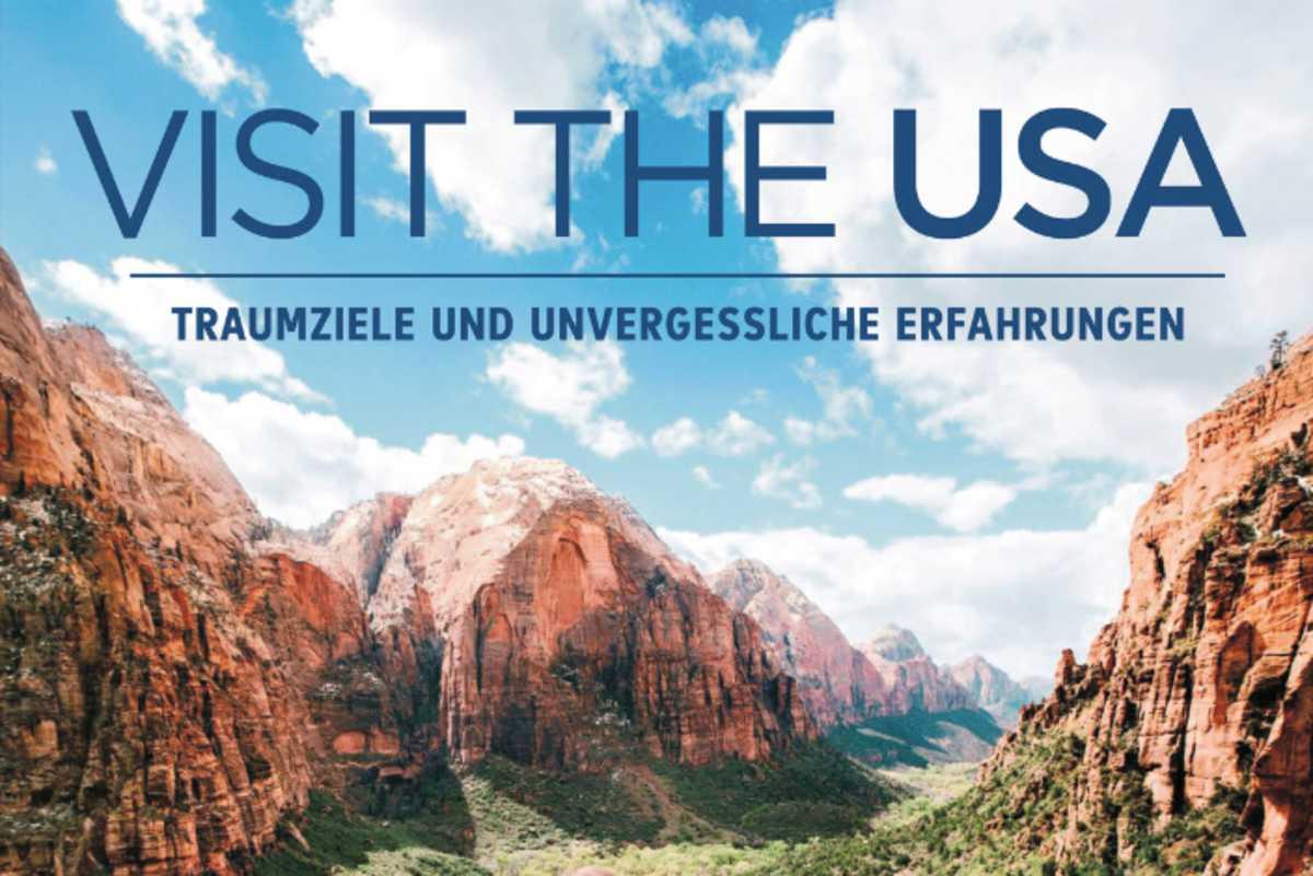 Ein Visit USA Banner mit Landschaftsaufnahme