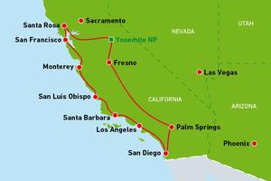 Reiseverlauf von Konstantin Elser in Kalifornien