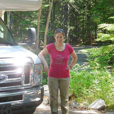 Carmen auf dem Cougar Rock Campground im Mount Rainier Nationalpark
