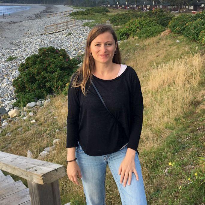 Bente Sieburg am Strand vom White Point Beach Resort in White Point