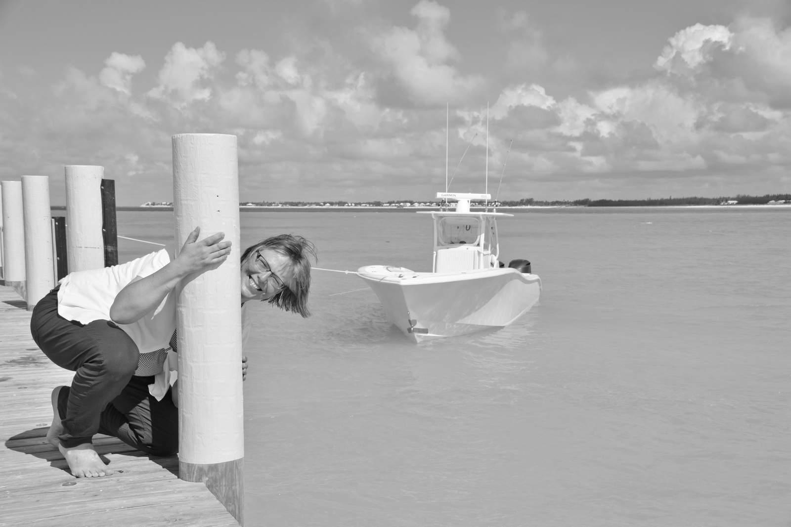 Karin Buhse in Abaco im Treasure Sands Club auf den Bahamas