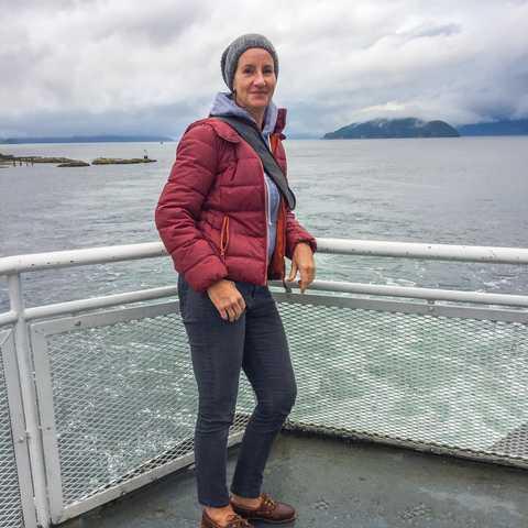 CANUSA-Mitarbeiterin Katja Höbel an der Westküste auf einer BC Ferry