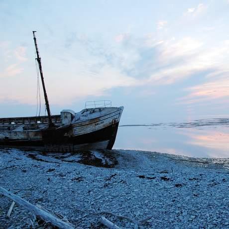 Schiffswrack auf Anticosti Island