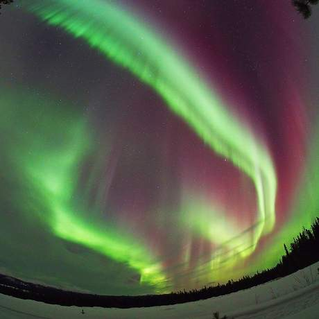 Aurora Borealis durch das Fischaugenobjektiv