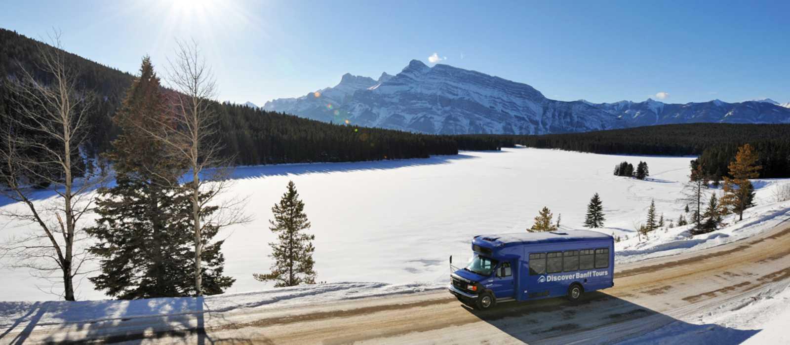 Mit dem Bus unterwegs auf der Banff and its Wildlife Tour in Alberta, British Columbia