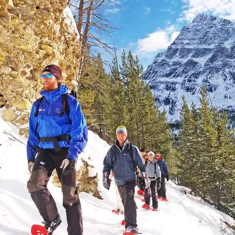 Banff Snowshoeing to Marble Canyon, Alberta