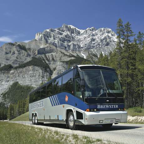 Brewster Motorcoach in the Canadian Rockies near the townsite of Banff.