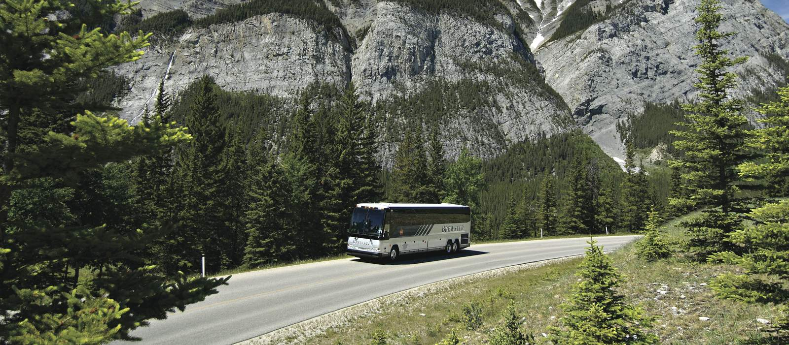 Brewster Motorcoach in the Canadian Rockies near the town of Banff.