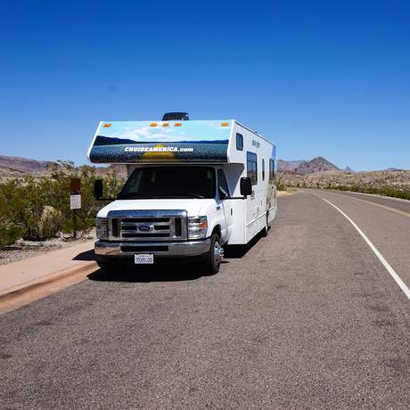 C 30 Camper von Cruise America im Big Bend Nationalpark in Texas