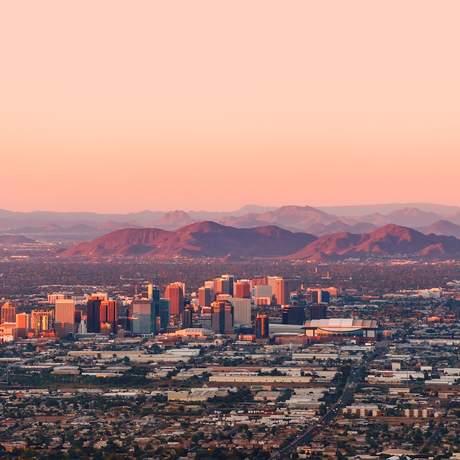 Skyline von Downtown Phoenix aus der Luft