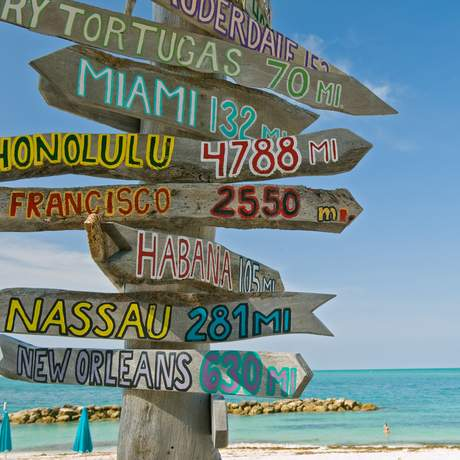 Mileage Signpost in Key West Florida