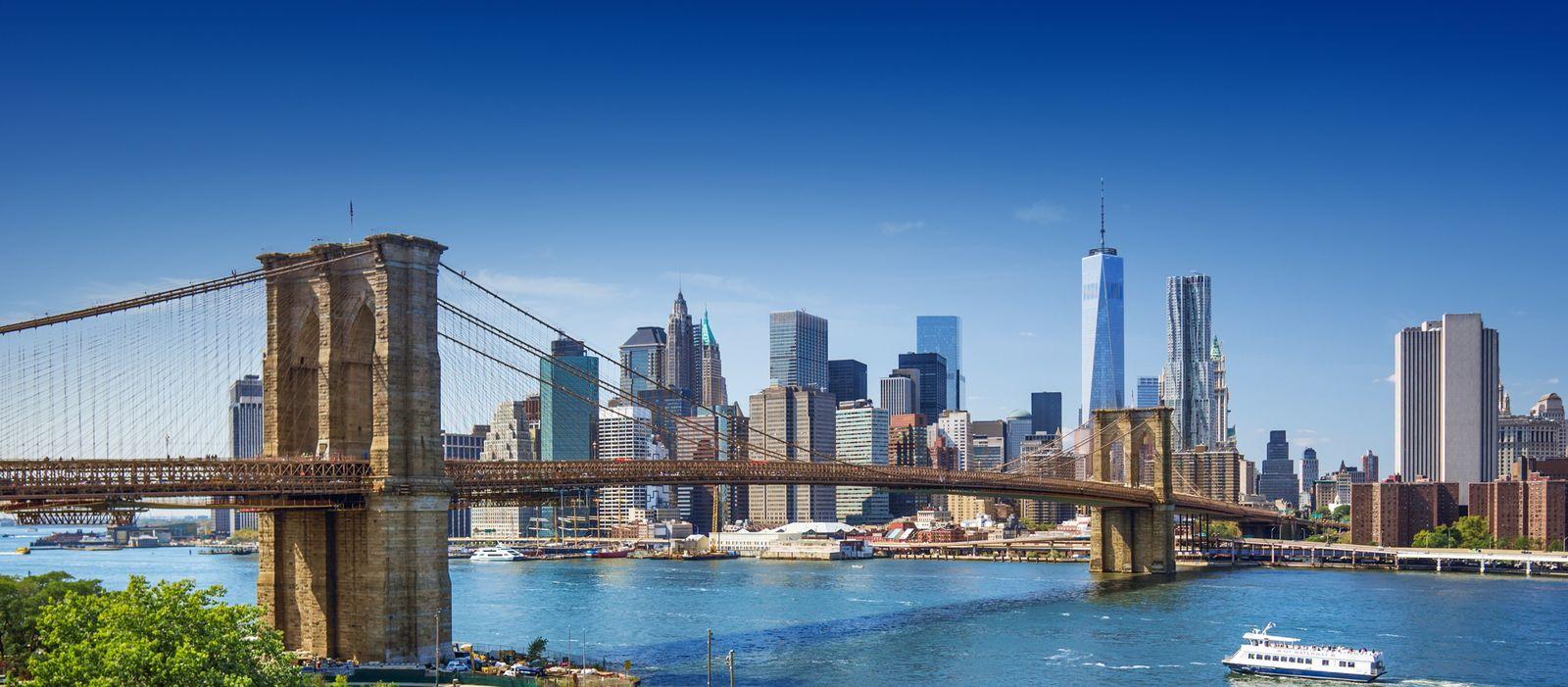 Brooklyn Bridge Park mit New York City Skyline