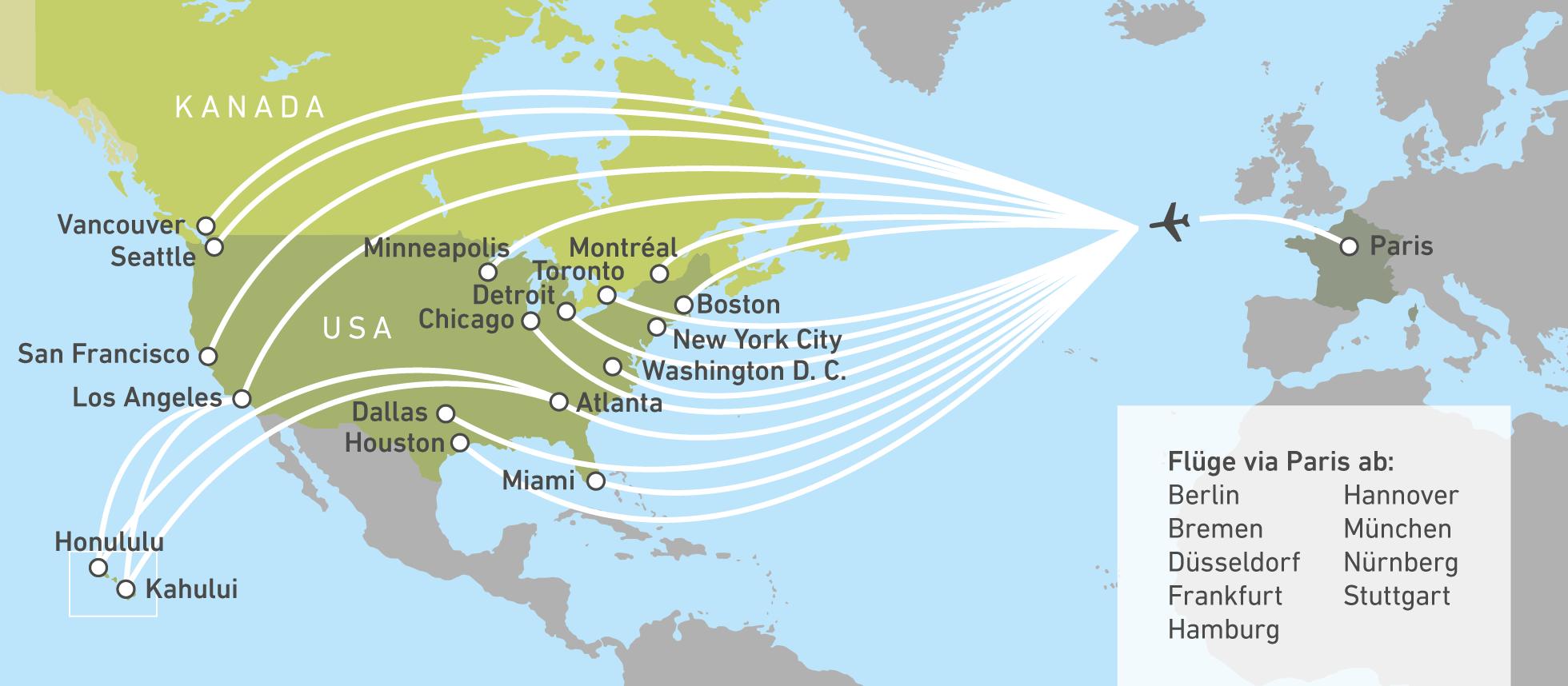 Air France über Paris Nach Nordamerika Canusa