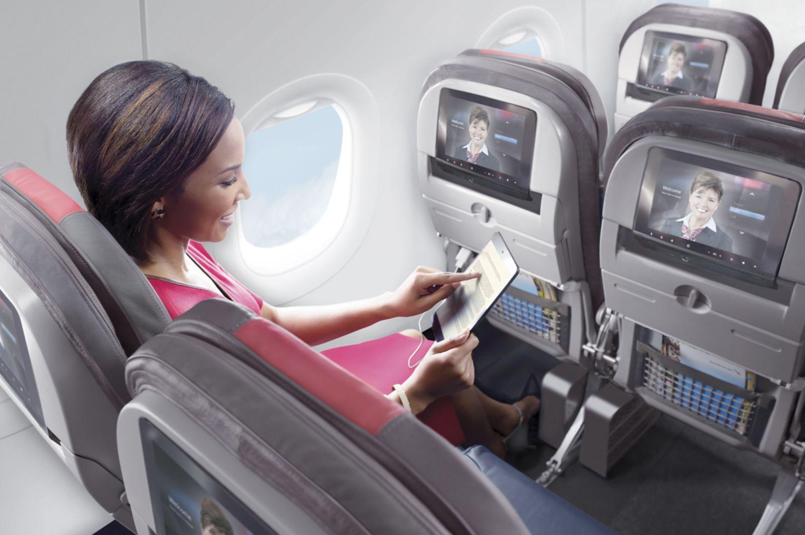 Unterhaltung in der American Airlines Boeing B777-300