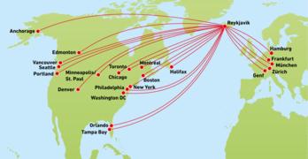 Streckennetzkarte von Icelandair