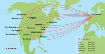 Das Streckennetz der KLM