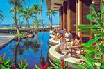 Mittagessen mit Blick auf das Meer Lanai, Hawaii