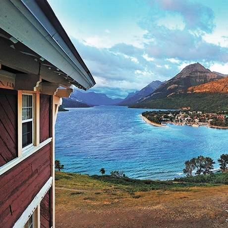 Ausblick vom Prince of Wales Hotel in Waterton Park, Alberta
