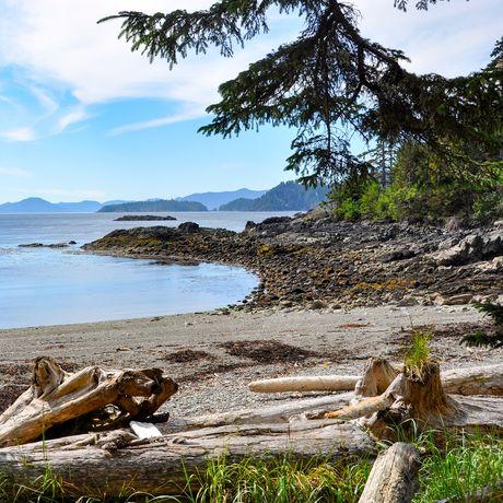 Strand vor dem Haida House at Tllaal