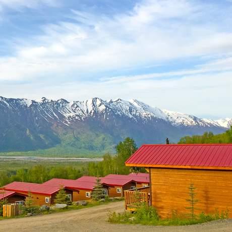 Hotelgelände der Knik River Lodge