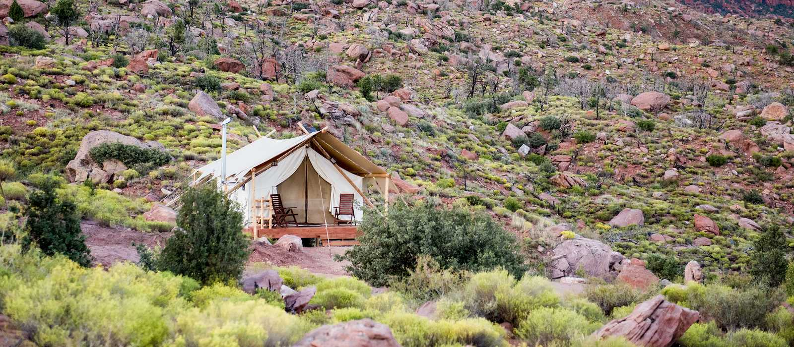 Ein Deluxe Zelt im Under Canvas Resort im Zion Nationalpark