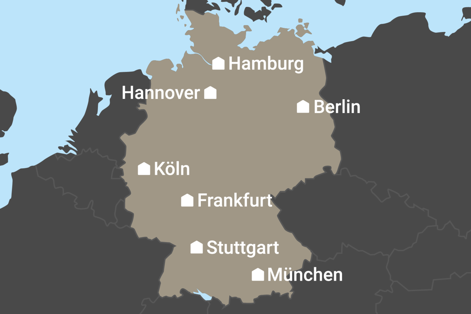 Karte der CANUSA-Büros in Deutschland