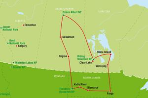 Reisverlauf Land des weiten Himmels von Winnipeg, Manitoba über North Dakota, USA