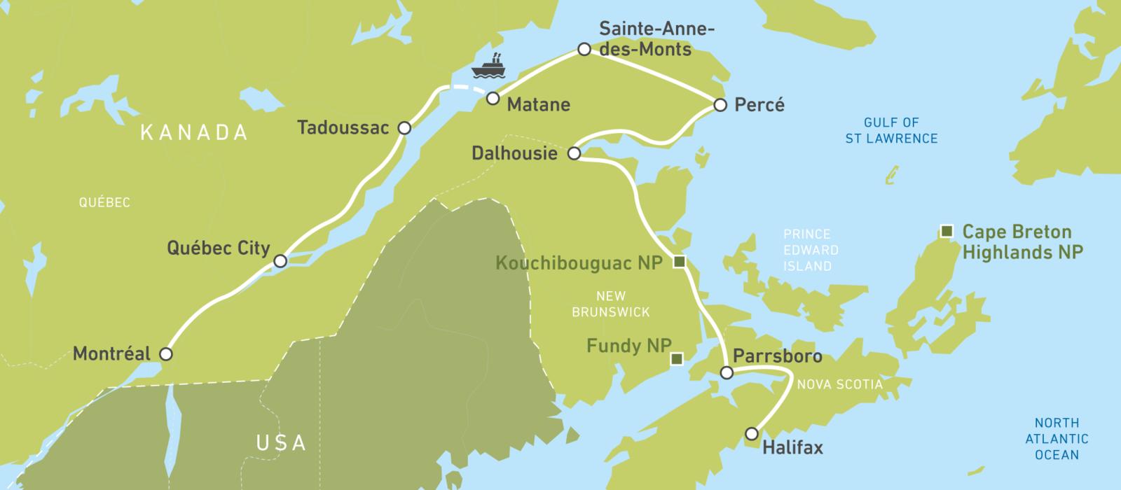 Mit dem Auto von Halifax bis nach Montreal