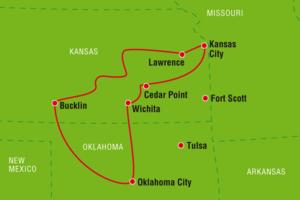 Reiseverlauf der Autoresise Ranchreise Kansas & Oklahoma, USA