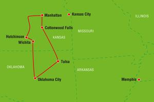 Reiseverlauf von/bis Tulsa Prärie & Hügellandschaften, Kansas, Oklahoma, USA