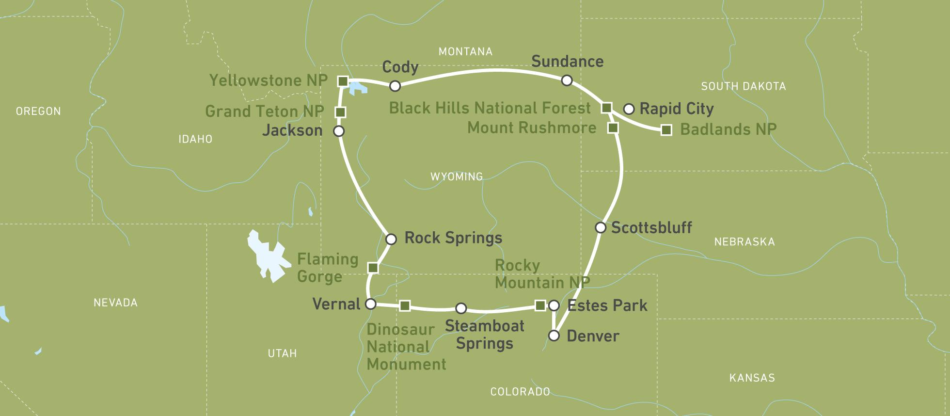 Yellowstone Karte.Autoreise Mit Dem Auto Durch Die Rockies Canusa