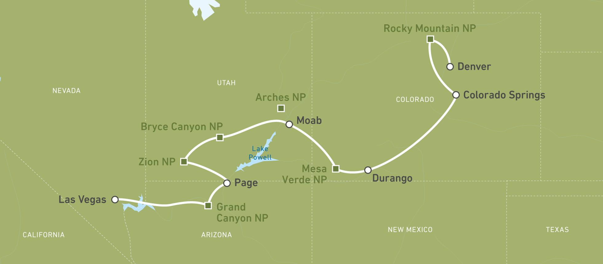 Colorado Karte Fluss.Individuelle Autoreise Ab Denver Bis Las Vegas Buchen Canusa