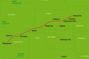 Reiseverlauf Santa Fe Trail, Kansas, Oklahoma, USA