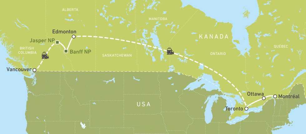 """Eine Karte der Busreise """"Canadian Discovery"""" von Montréal nach Vancouver"""
