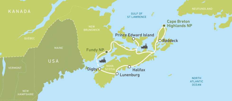 Bus Karte walking the canadian maritimes