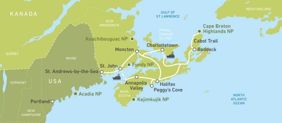 Eine Karte der Atlantik-Maritimes-Busreise von Jonview Canada