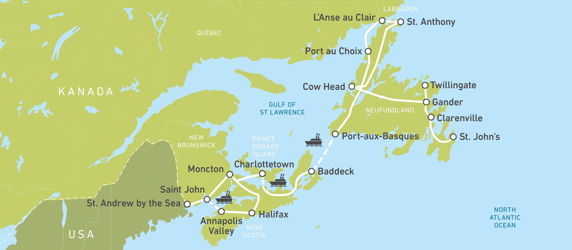 Die Karte für die Great-Atlantic-Experience-Busreise von Jonview Canada