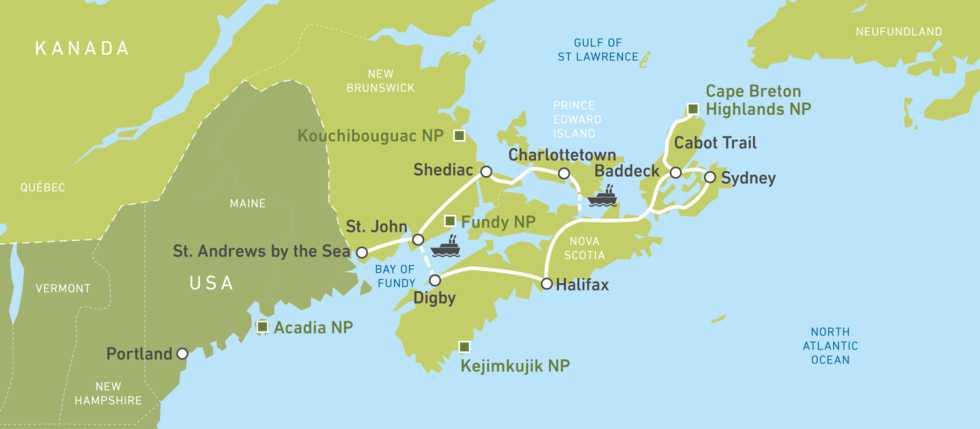 Eine Karte für die Maritime-Delights-Busreise von Jonview Canada