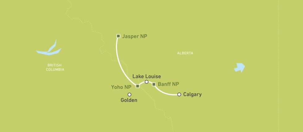 Karte für eine Campingtour in Banff und Jasper