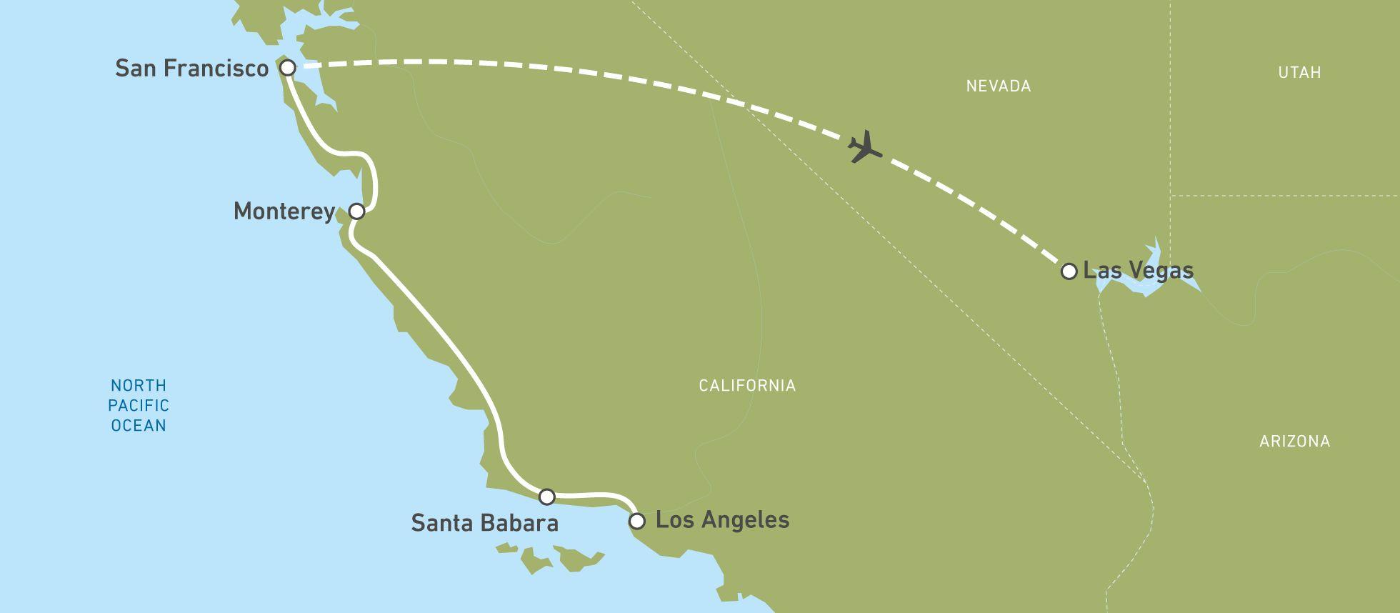 Die Karte einer Bustour durch den Westen der USA