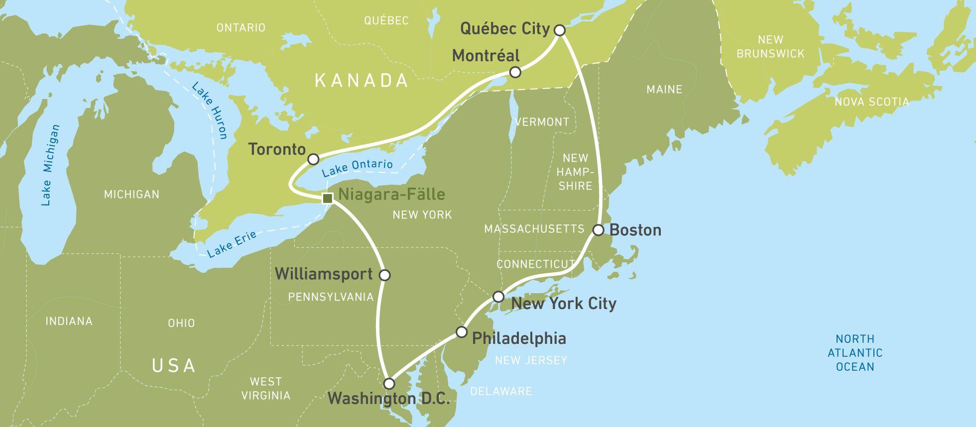 Eine Karte der Eastern-Highlights-Bustour durch die USA