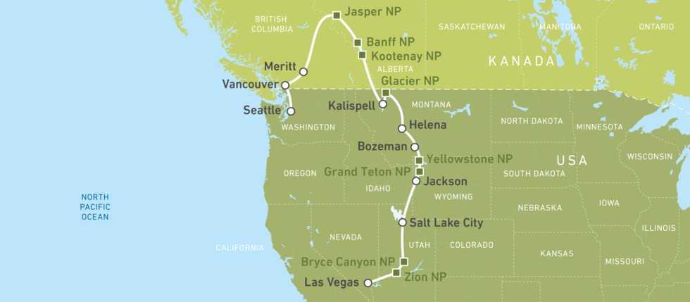 Eine Karte der Rocky-Mountain-Wonders-Busreise bis Seattle