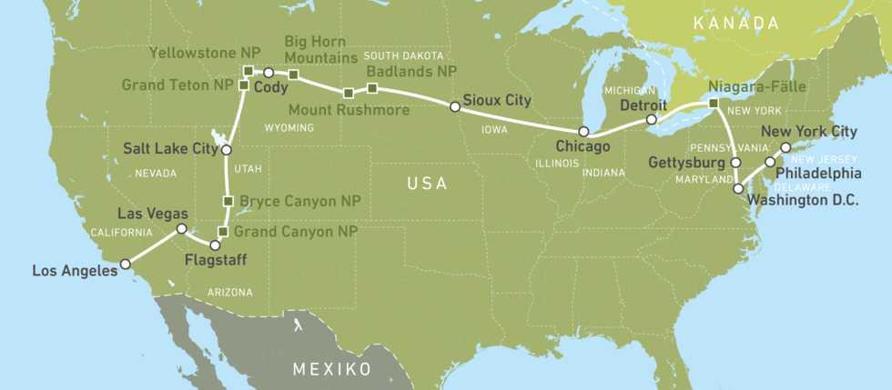 Mit dem Bus von Ney York bis Hollywood