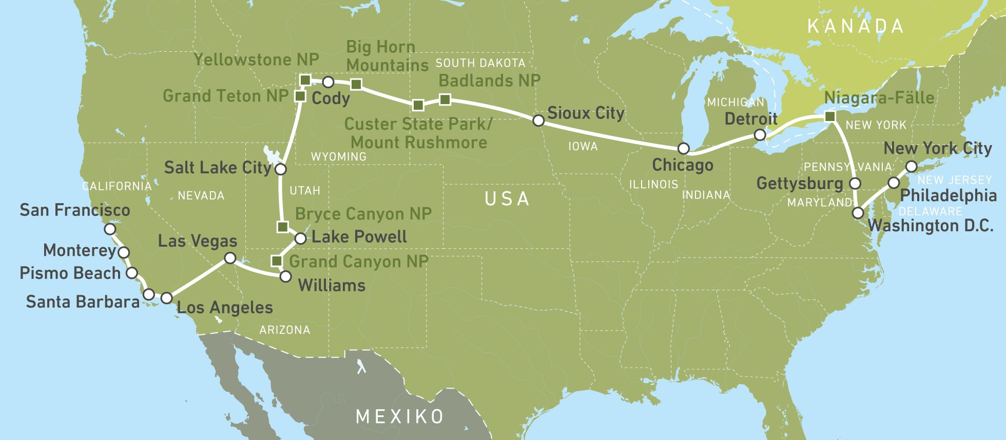 Busreisen USA: The Great American Crossing | CANUSA
