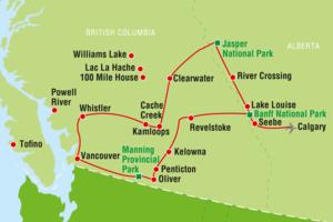 Wohnmobil-Reiseverlauf von den Rocky Mountains bis zum Pazifik