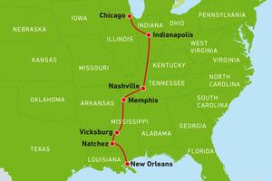 Reiseroute von Chicago bis New Orleans, USA